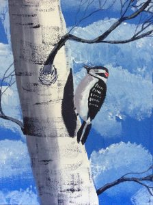 Lesser spotted woodpecker on a silver birch